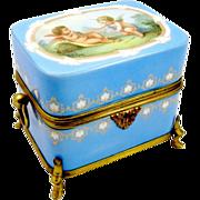 A Charming French 19th Century Cherub Opaline Box - LARGE