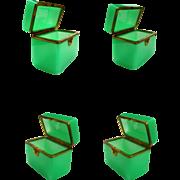 Antique French Green Opaline Casket