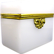 Antique French White Opaline Glass Casket