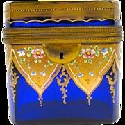 Antique MOSER Cobalt Blue Box with Polychrome Flowers