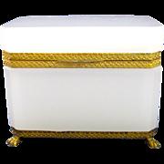 Antique French White Opaline Glass Casket Box