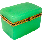 Antique French Opaline Glass Casket with Smooth Dore Bronze Mounts and S Shaped Clasp