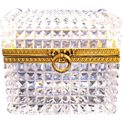 Antique Baccarat Cut Crystal Casket  Box with Dore Bronze Bow.