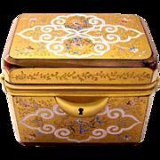 Stunning Antique Red Enamelled Glass Moser Casket Box