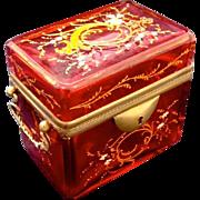 Antique Cranberry Glass Moser Enamelled Casket Box