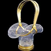 SOLD Elegant Antique Napoleon III Cut Crystal & Dore Bronze Basket