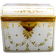 Antique French White Opaline Casket Box