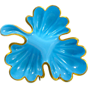 Antique French Blue Opaline Glass Leaf Dish