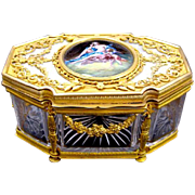 Empire Palais Royal Cut Crystal Glass Casket Box with Enamelled Plaque.
