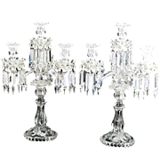 SOLD Tall Pair of Cut Crystal SIGNED BACCARAT Candelabra
