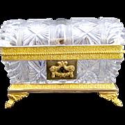 Charles X Antique Cut Crystal BACCARAT Casket Box