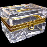 Antique Baccarat Crystal Bow Casket Box