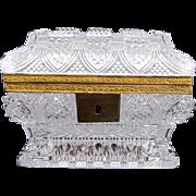 Antique Baccarat Cut Crystal Casket Box