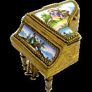 Miniature Antique Palais Royal French Enamelled Piano Box