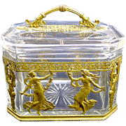SOLD Antique French Napoleon III Crystal & Bronze Casket Box