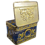 Antique Napoleon III Cut Crystal Dore Bronze Casket Box
