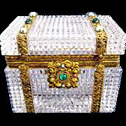 Antique Baccarat Diamond Cut Crystal Casket Box with 'Jewels'.