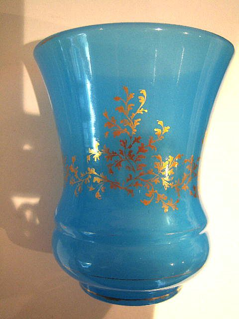 French Circa 1840 Blue Opaline Beaker From Grandtour On Ruby Lane