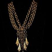 SALE PENDING Gorgeous Chunky Leo Glass brass vintage festoon necklace