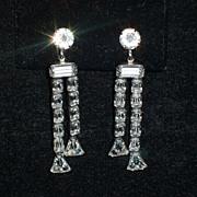 """SALE PENDING Wonderful 2 1/4"""" Sophisticated Dangle rhinestone earrings"""