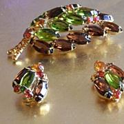 Beautiful autumn colors Juliana Brooch and earring set