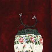 SALE Beautiful Victorian drawstring Floral beaded purse
