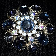 Dazzling Sapphire Domed Vintage Brooch
