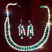SALE Stunning Demi - Emerald Rhinestone vintage set