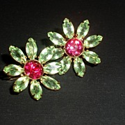 Sweet Peridot and Fuschia Sterling silver flower Vintage Earrings