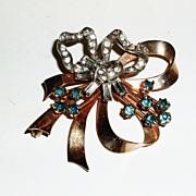 Signed Elegant gold filled 1940's Bow brooch .