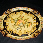 SALE Lovely Oval Papier Mache Serving Tray