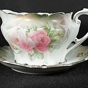 Lovely R.S. Prussia Porcelain Sauce Boat with Underliner Plate