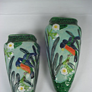 SALE Pair of Art Pottery Wall Pockets with Deco Influence. Made in Japan