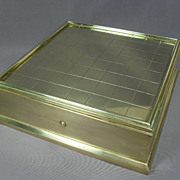 "SALE Brass Writing Box with Inkwell, Candle - 6 1/2"" Square - Dated 1891"