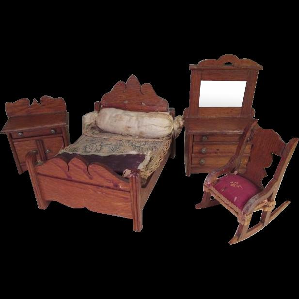 oak doll house bedroom set in 1 scale star novelty