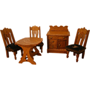 "Oak Doll House Dining Room Set in 1"" Scale - Star Novelty Works - American Toy Furniture"