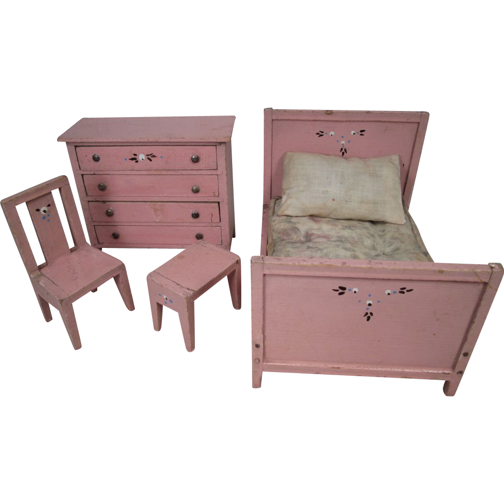 Vintage Doll House Furniture Bedroom Set r Scale