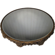 "Large Beveled Mirror Plateau with Cast Ormolu Base - 14 3/4"" in Diameter"