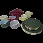 Hazel Atlas Little Hostess Tea Set - Sierra Pattern - Complete Set of 16 Pieces - (Moderntone)
