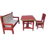 "Miniature German Dollhouse Furniture - Gottschalk - Settee, Table and Chair - 1/2"" Scale"