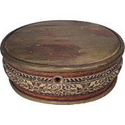 "Leather Covered Wooden Sewing or Jewelry Box - 8"" Long"