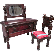 "Dollhouse Furniture - Tri-ang or Lines Brothers Vanity and Chair - 3/4"" or Small 1 ..."