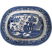 """Buffalo Pottery Large Blue Willow Platter - 14"""" by 11"""" - 1909"""