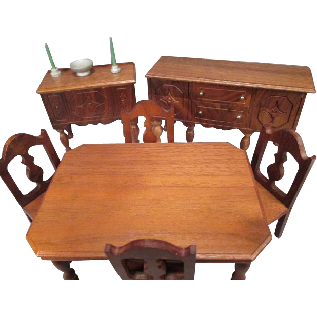 Strombecker dollhouse furniture complete walnut dining room from 1936 from grannymares on ruby lane - Dollhouse dining room furniture ...