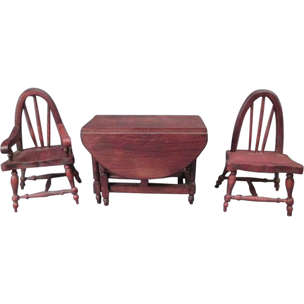 German Doll House Furniture Red Stain Gate Leg Dining Table From Gran