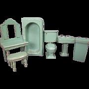 "Vintage Dollhouse Furniture - Strombecker 6 Piece Bathroom Set - 1"" Scale"