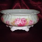 SALE Gorgeous German Porcelain Skirted Bowl or Ferner with Rose Transfer