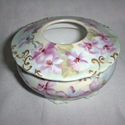 SALE Hand Painted with Violets - Porcelain Hair Receiver made by Jean Pouyat, Limoges