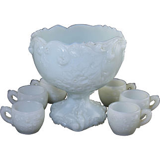Antique Miniature Doll or Childs Size Milk Glass Punch Bowl Set c1910 Wild Rose Butler