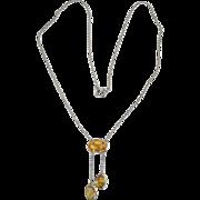 Vintage Edwardian Art Deco Citrine Bezel Set Lariat 800 Silver Necklace
